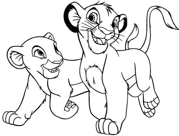The Lion King Simba and His Girlfriend Coloring Page - Download ...