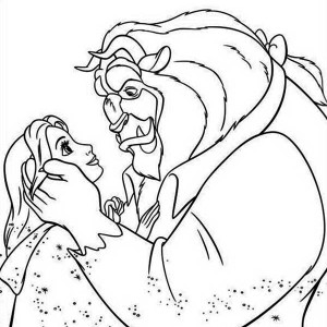 The Story of Belle and the Beast in Beauty and the Beast Coloring Page