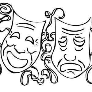 Mardi Gras The Twin Comedy And Tragedy Mask On Coloring Page