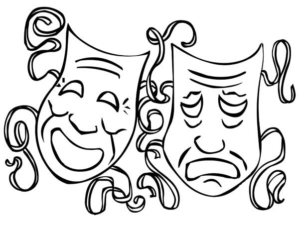 The Twin Comedy and Tragedy Mask on Mardi Gras Coloring Page