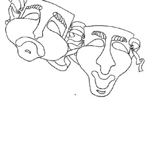 Twin Mask of Comedy and Tragedy for Mardi Gras Coloring Page