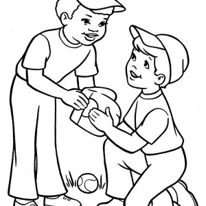 Two Boys Playing Baseball Coloring Page