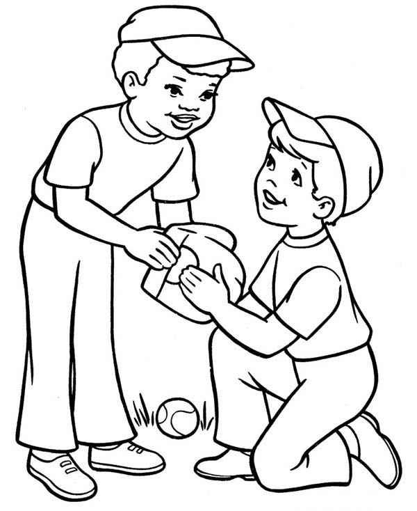 two boys playing baseball coloring page - Coloring Pages For Boys