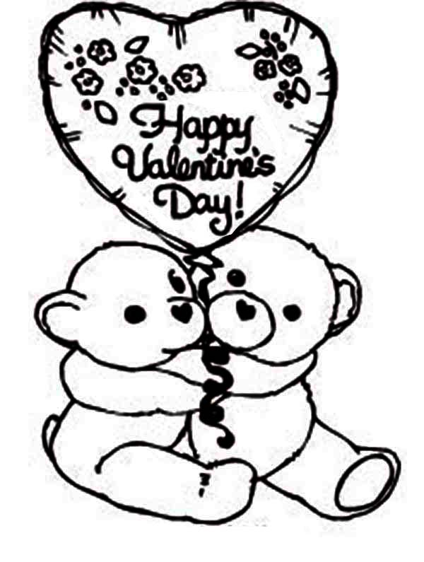 Two Cute Bear Say Happy Valentines Day Coloring Page