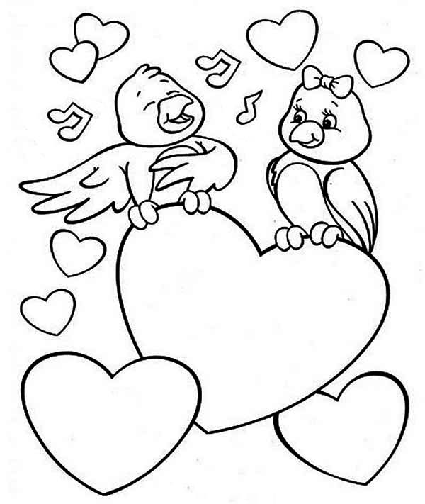 two cute birds on valentines day coloring page - Valentines Day Coloring Pages