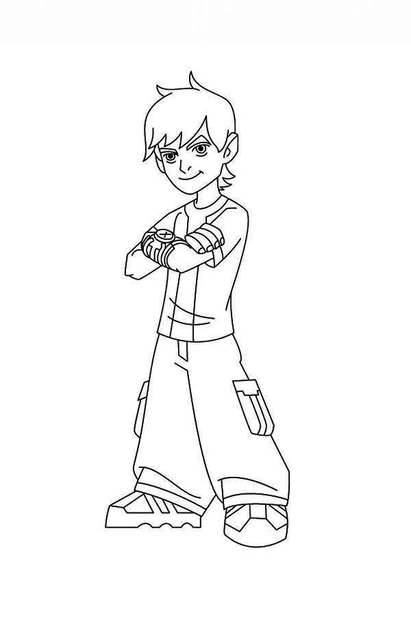 Typical Young Ben Cool Pose In Ben 10 Coloring Page Download Benten Coloring Pages