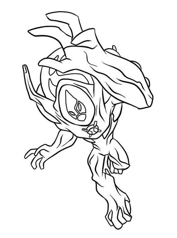 ben 10 ultimate swampfire from ben 10 ultimate alien coloring page