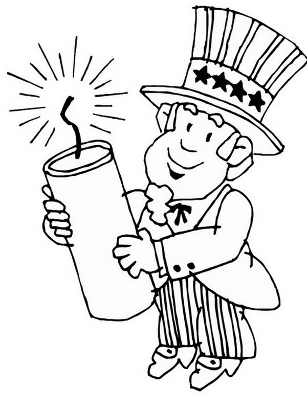 presidents day uncle sam holding a presidents day candle coloring page