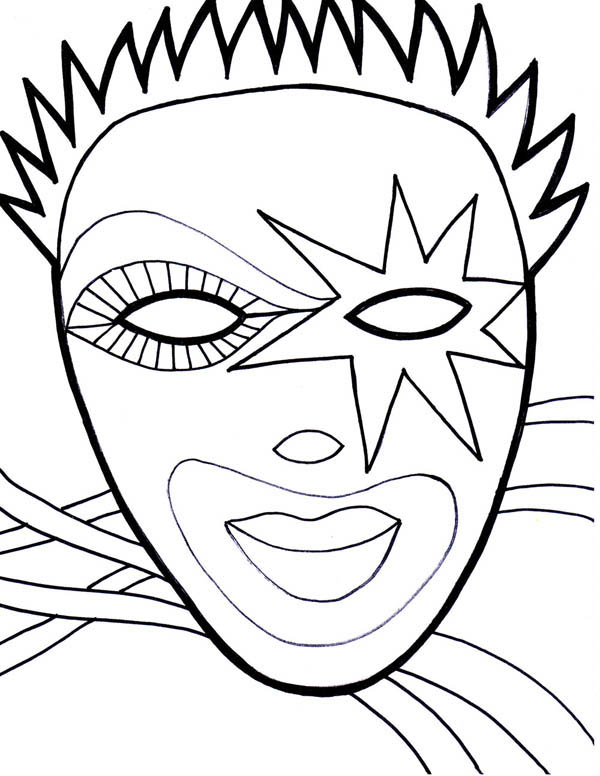 Wearing Mask on Mardi Gras Fest Coloring Page - Download & Print ...
