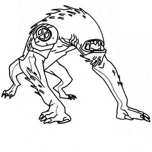ben 10 wildmutt from ben 10 coloring page - Ben Ten Coloring Pages