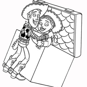 Woddy Finally Find Jessie Inside the Chest in Toy Story Coloring Page