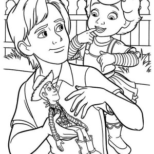 Woddy Meet Mrs Anderson in Toy Story Coloring Page