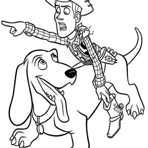 Woddy Riding Buster to Find Buzz in Toy Story Coloring Page