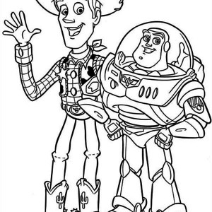 Woddy and Buzz are the Best Partner Coloring Page