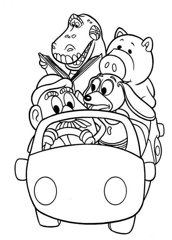 Toy Story Woddys Gang Riding A Car In Coloring Page