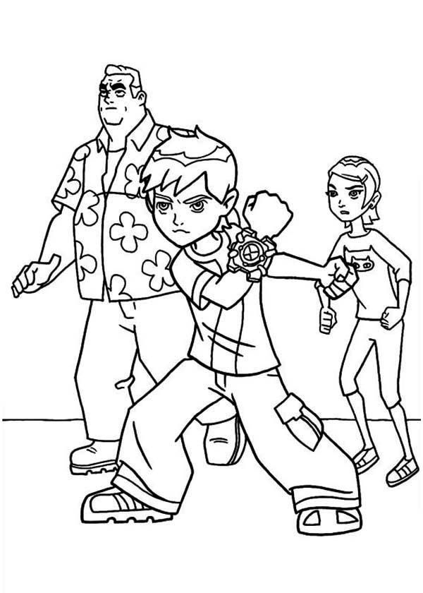 Young Ben Granpa Max and Gwen in Ben 10 Coloring Page Download