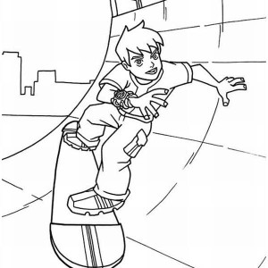 Young Ben Playing Skateboard Coloring Page
