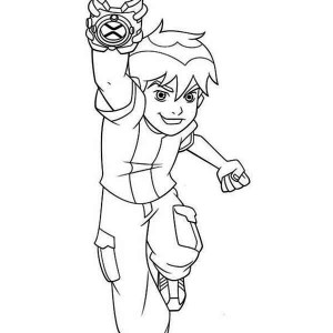 Young Ben Power Up His Omnitrix Coloring Page