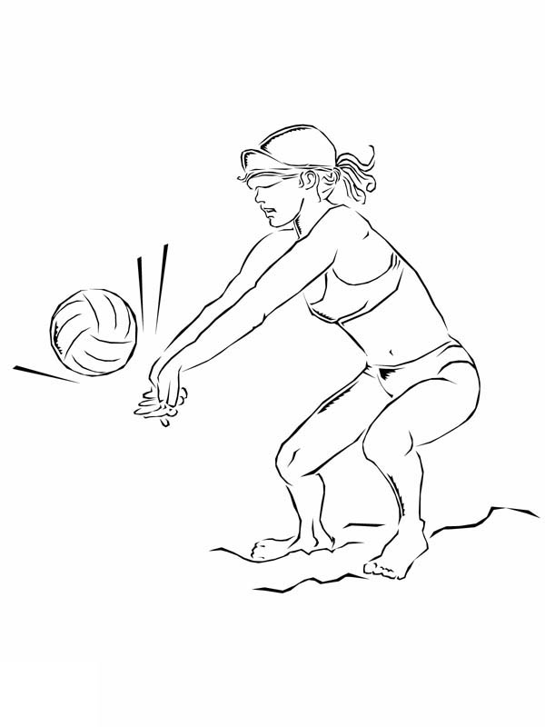 a girl set volleyball coloring