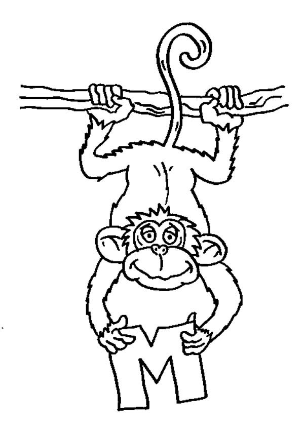 a monkey catching letter m coloring page - Letter M Coloring Pages