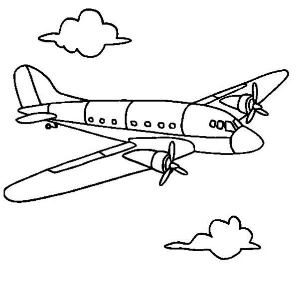 airline airplane coloring page
