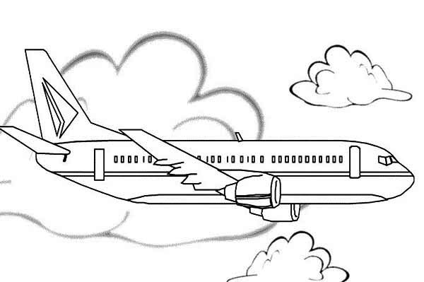 airline jet airplane coloring page - Download & Print Online ...