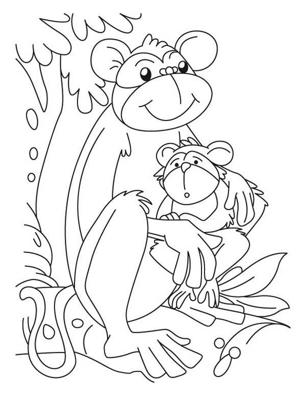 Baby monkey and its mom coloring page download print for Mom and baby coloring pages