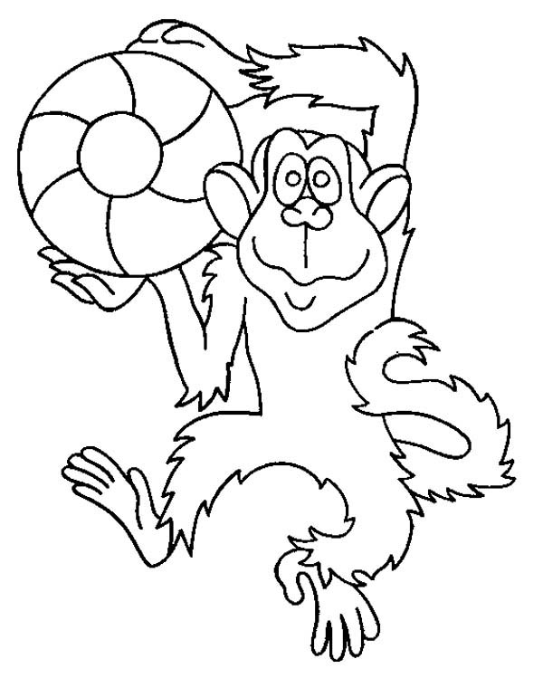 baby monkey play ball coloring - Download & Print Online Coloring ...