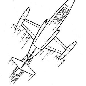 cartoon futuristic jet plane coloring page