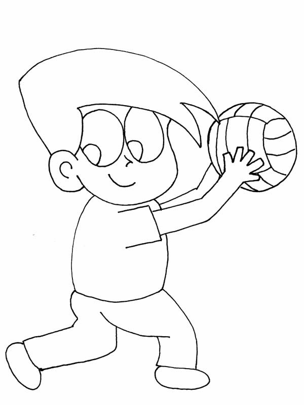 Volleyball Cartoon Ready For Service Coloring Page
