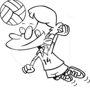cartoon volleyball spike coloring page