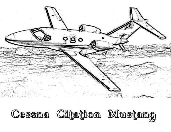 Airplane Cessna Citation Mustang Coloring Page