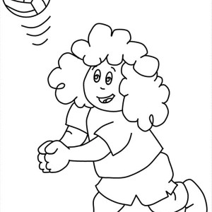 curly kid play volleyball coloring page