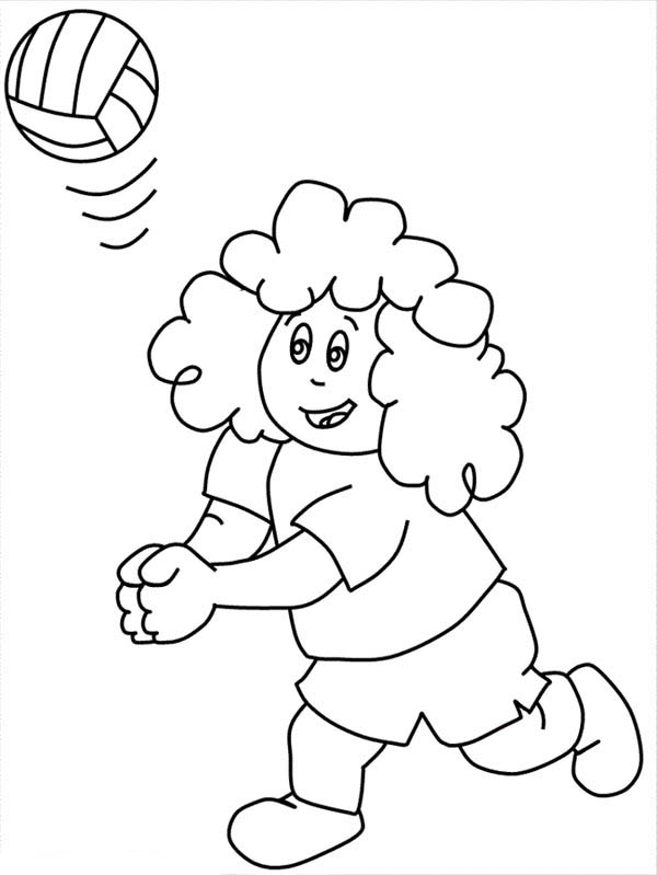 Curly Kid Play Volleyball Coloring Page Download Amp Print