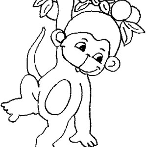 Cute Monkey In Tree Drawing