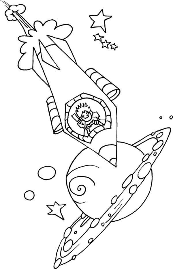 driving a rocket ship coloring page Download Print Online