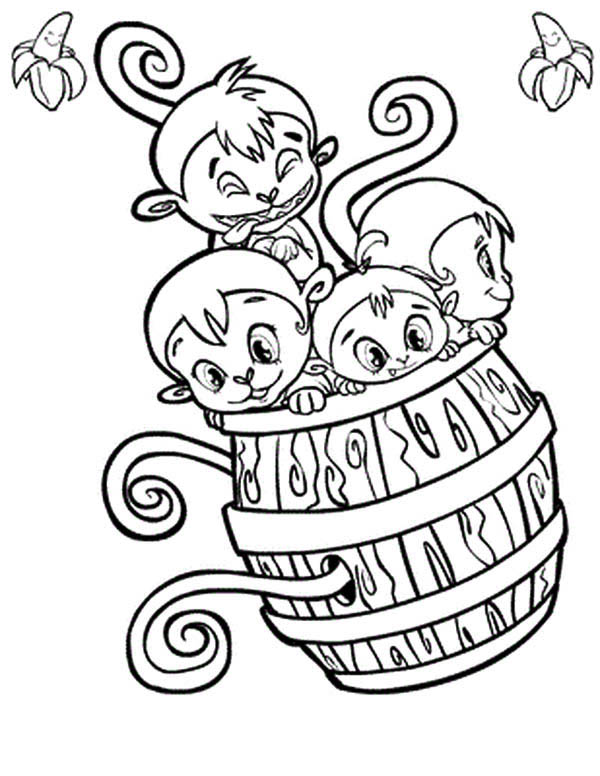 four monkey play with a wooden barrel coloring page - Monkey Coloring Page