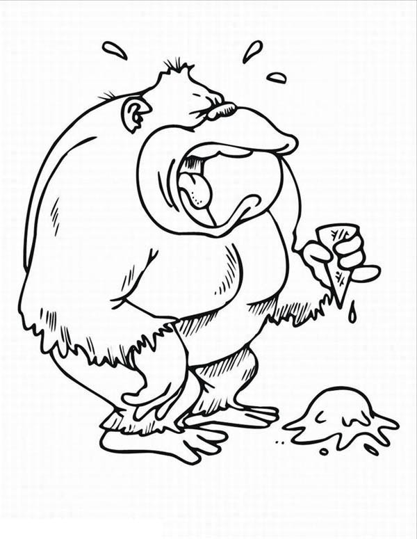 gorilla is crying for his ice cream coloring page - Coloring Page Gorilla