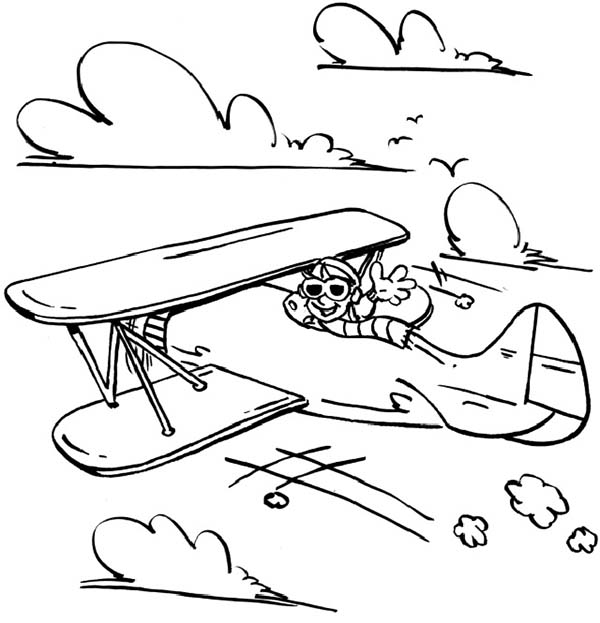Airplane Happy Pilot In Old Coloring Page