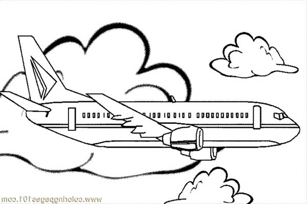 airplane jumbo jet simple coloring for kidsjpg