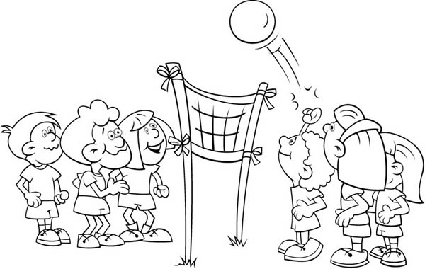 kids playing volleyball coloring page Download Print Online