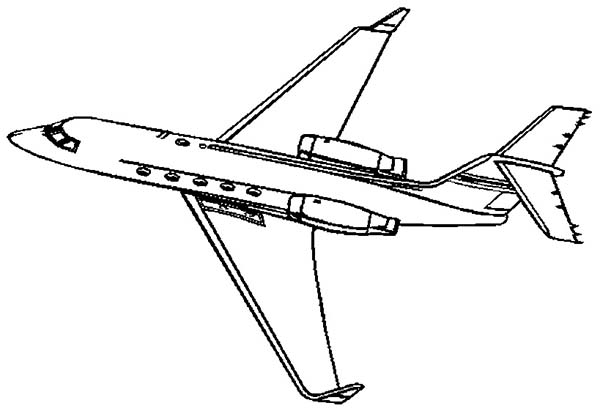 Airplane Learjet Private Jet Coloring Page