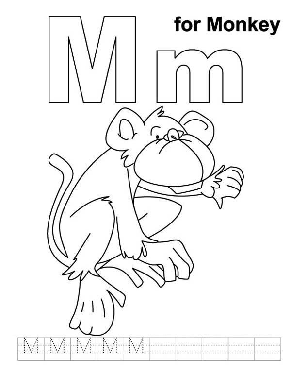 m for monkey coloring pages - photo #9