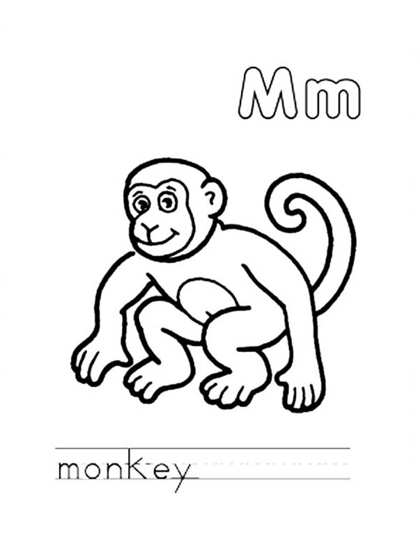 m for monkey coloring pages - photo #8