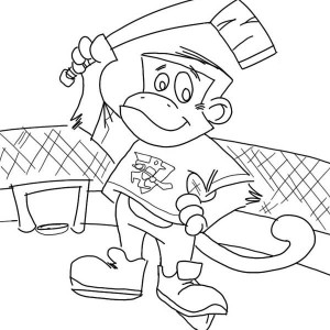 monkey as a hokey player coloring page