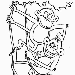 monkey monkey brothers play on a tree coloring page monkey brothers play - Coloring Pages Monkeys Trees