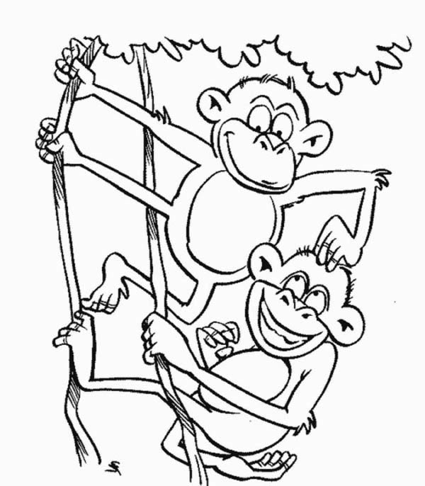 monkey brothers play on a tree coloring page - download & print ... - Coloring Pages Monkeys Trees