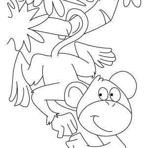 monkey can hanging on a branch with its tail coloring page