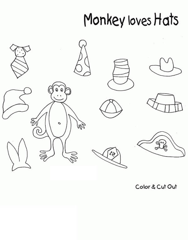monkey loves hats coloring page Download Print Online Coloring