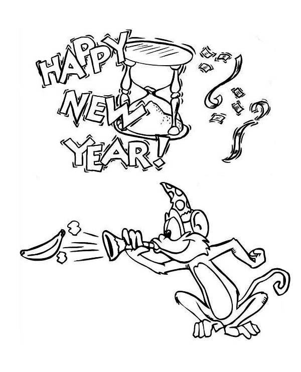 Monkey Says Happy New Year Coloring For Kids Page